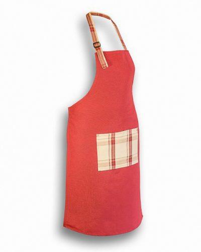 Ποδιά Μαγείρου κόκκινη με καρό τσέπη