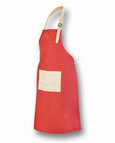Ποδιά Μαγείρου Κόκκινη με εκρού τσέπη