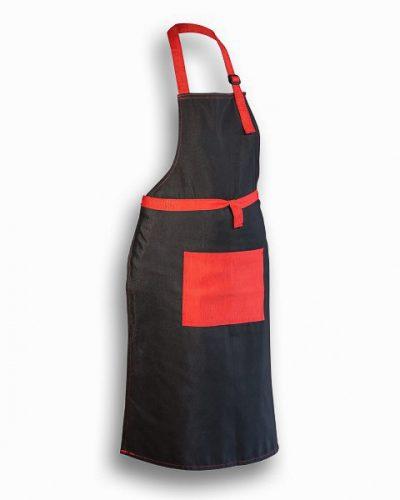 Ποδιά Μαγείρου Μαύρη με κόκκινη τσέπη