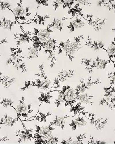 Κουρτίνα Βαμβακοσατέν Λευκή με λουλούδια